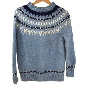 Handmade Hand Knit Fair Isle Chunky Sweater Small Crew Neck
